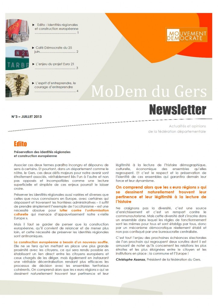 Newsletter du MoDem N°3 - Juill 2013 P1
