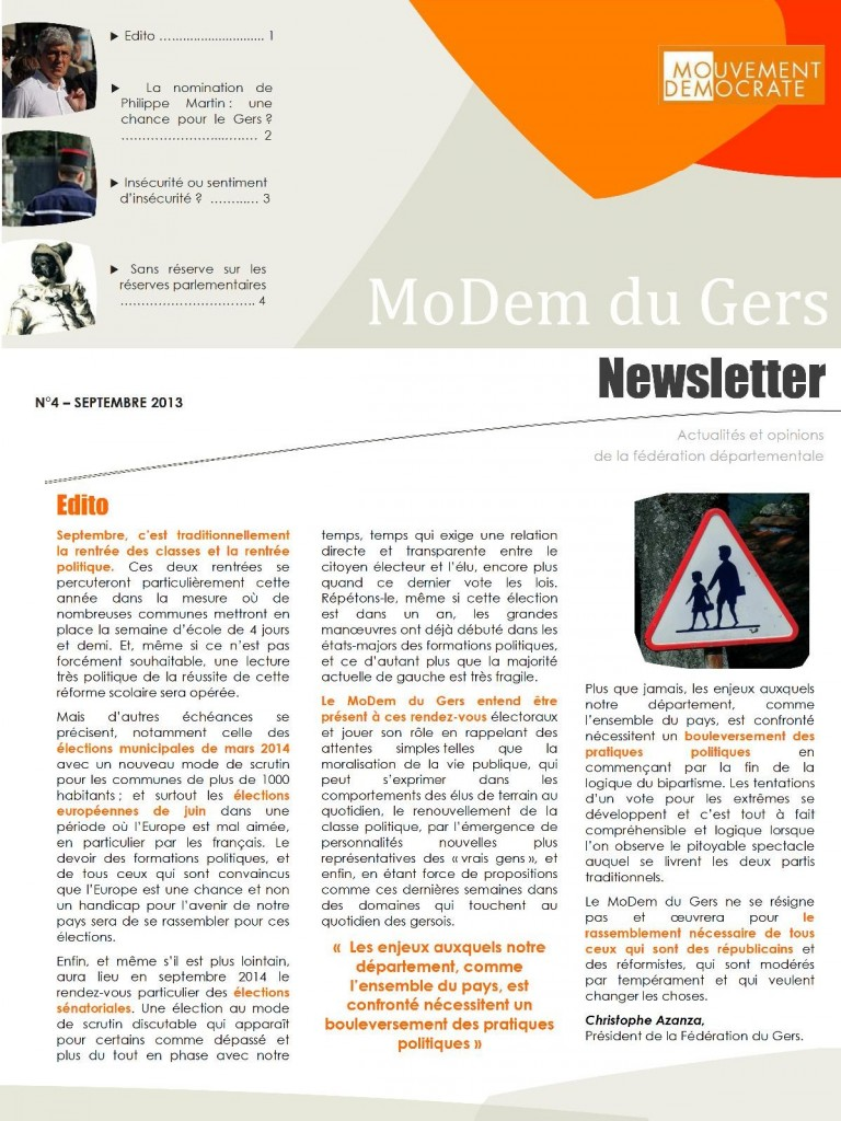 Newsletter du MoDem N°4 - Sept 2013 p1