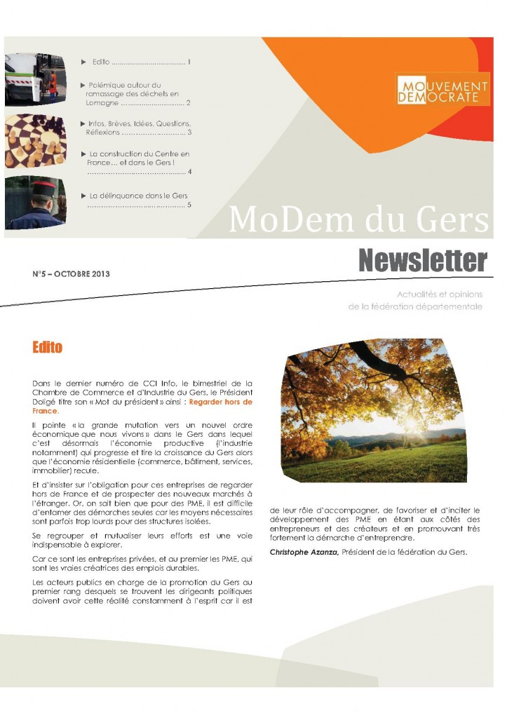 Newsletter du MoDem N°5 - Oct 2013 p1