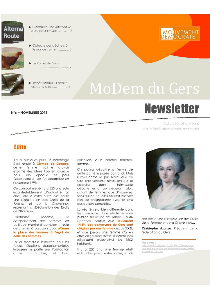 Newsletter du MoDem N°6 - Nov 2013 p1