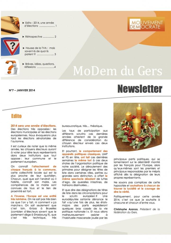 Newsletter du MoDem N°7 - Janv 2014