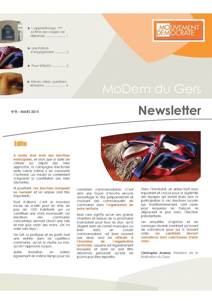 Newsletter du MoDem N°8 - Mars 2014 p1